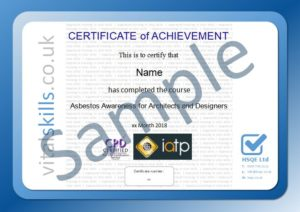 asbestos awareness for architects and designers certificate