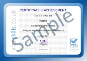 Safeguarding Vulnerable Adults Online Training Course Certificate