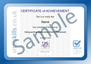 Safeguarding Vulnerable Adults Advanced Online Training Course Certificate